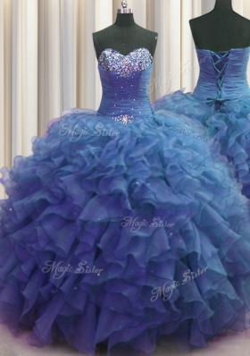 Free and Easy Beaded Bust Blue Sweetheart Lace Up Beading and Ruffles Quinceanera Gowns Sleeveless