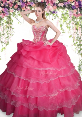 New Arrival Pick Ups Ruffled Floor Length Coral Red Vestidos de Quinceanera Sweetheart Sleeveless Lace Up