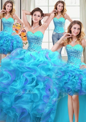 Pretty Four Piece Multi-color Lace Up Sweetheart Beading and Ruffles Quinceanera Dresses Organza Sleeveless