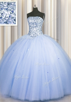 Colorful Sequins Big Puffy Strapless Sleeveless Lace Up Vestidos de Quinceanera Blue Tulle