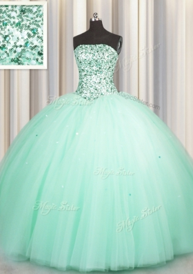 Excellent Puffy Skirt Apple Green Ball Gowns Beading and Sequins Sweet 16 Dresses Lace Up Tulle Sleeveless Floor Length