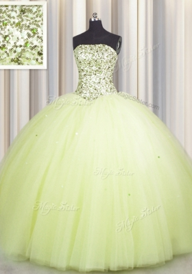 Flare Sequins Big Puffy Floor Length Light Yellow 15th Birthday Dress Strapless Sleeveless Lace Up