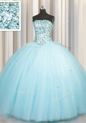 Really Puffy Aqua Blue Sleeveless Beading and Sequins Floor Length Quince Ball Gowns