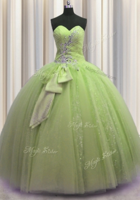 Suitable Yellow Green Sweetheart Neckline Beading and Sequins and Bowknot Vestidos de Quinceanera Sleeveless Lace Up