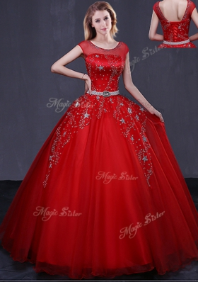 Admirable Scoop Red Cap Sleeves Beading and Belt Floor Length 15th Birthday Dress
