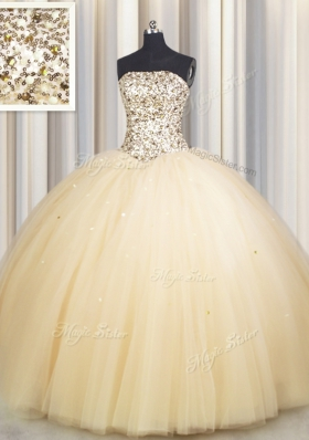 Colorful Really Puffy Gold Tulle Lace Up Strapless Sleeveless Floor Length Sweet 16 Quinceanera Dress Beading and Sequins