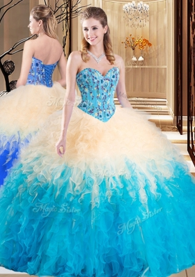 Graceful Multi-color Lace Up Sweetheart Embroidery and Ruffles Sweet 16 Quinceanera Dress Tulle Sleeveless