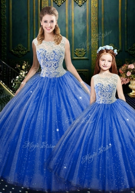 High-neck Sleeveless Ball Gown Prom Dress Floor Length Lace Royal Blue Tulle