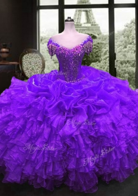 Organza Cap Sleeves Floor Length 15 Quinceanera Dress and Beading and Ruffles