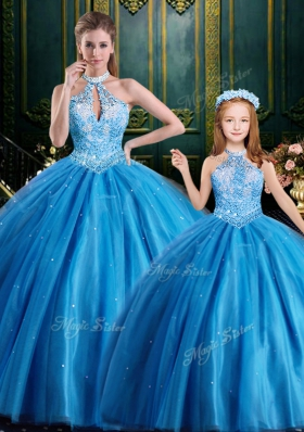 Top Selling Halter Top Baby Blue Lace Up 15th Birthday Dress Beading and Appliques Sleeveless Floor Length
