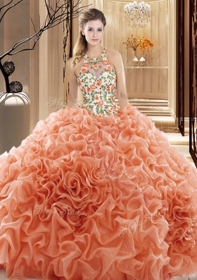 Top Selling Peach High-neck Neckline Embroidery and Ruffles Quinceanera Gown Sleeveless Backless