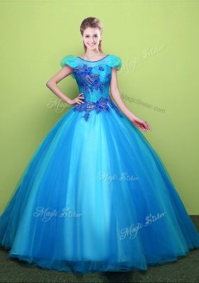 Scoop Short Sleeves Floor Length Lace Up 15 Quinceanera Dress Baby Blue and In for Military Ball and Sweet 16 and Quinceanera with Appliques