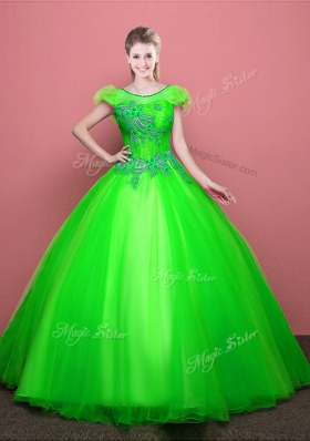 Vintage Ball Gowns Tulle Scoop Short Sleeves Appliques Floor Length Lace Up Quinceanera Dress