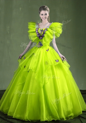 Sleeveless Organza Floor Length Lace Up Vestidos de Quinceanera in Yellow Green for with Appliques and Ruffles