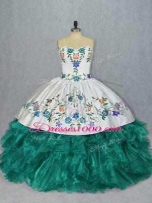 High Quality Turquoise Sweetheart Neckline Embroidery and Ruffles Quinceanera Gown Sleeveless Lace Up