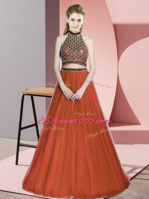 Top Selling Rust Red Two Pieces Halter Top Sleeveless Tulle Floor Length Lace Up Beading Evening Dress