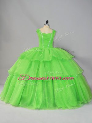 Sleeveless Organza Floor Length Lace Up Quinceanera Dress in with Beading and Ruffled Layers and Ruching
