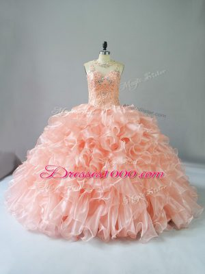 Flirting Peach Sleeveless Beading and Ruffles Sweet 16 Dresses