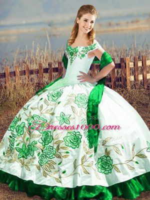 Stunning Off The Shoulder Sleeveless Satin and Organza Vestidos de Quinceanera Embroidery Lace Up