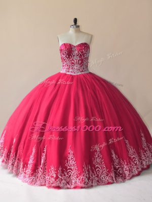 Perfect Red Sleeveless Tulle Lace Up 15 Quinceanera Dress for Sweet 16 and Quinceanera