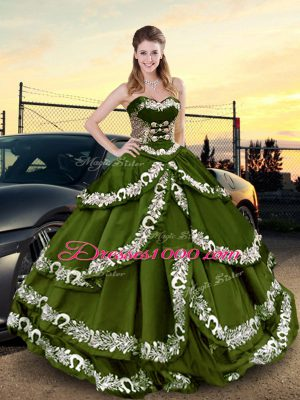 Simple Ball Gowns Ball Gown Prom Dress Olive Green Sweetheart Taffeta Sleeveless Floor Length Lace Up
