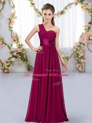 Fuchsia Sleeveless Belt Floor Length Bridesmaid Gown