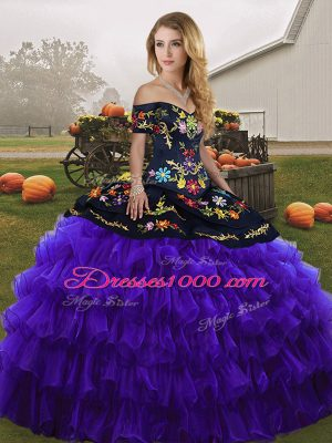 Delicate Floor Length Ball Gowns Sleeveless Black And Purple Quinceanera Gowns Lace Up
