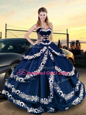Cute Asymmetrical Navy Blue 15th Birthday Dress Satin Half Sleeves Embroidery