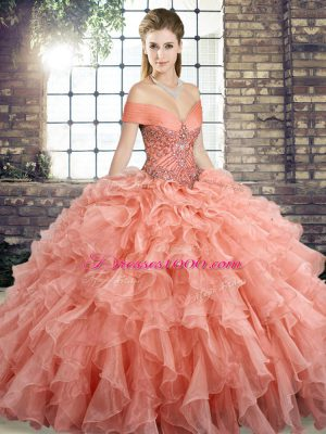 Modern Peach Organza Lace Up Quinceanera Gowns Sleeveless Brush Train Beading and Ruffles