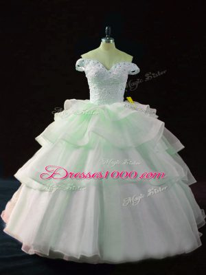 Apple Green Organza Lace Up Sweet 16 Quinceanera Dress Sleeveless Brush Train Beading and Ruffled Layers