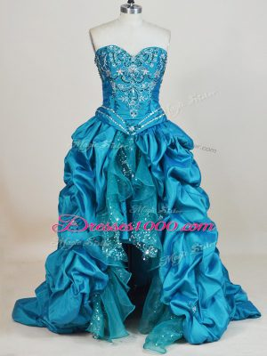 Glamorous High Low Lace Up Teal for Prom and Party with Beading and Pick Ups