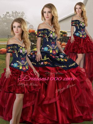 Red And Black Ball Gowns Embroidery and Ruffles Sweet 16 Quinceanera Dress Lace Up Organza Sleeveless Floor Length