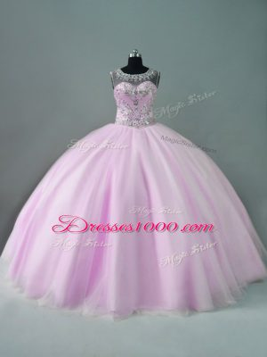 Great Lilac Sleeveless Tulle Zipper Sweet 16 Dress for Sweet 16 and Quinceanera