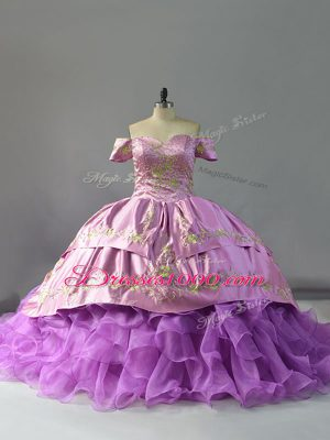 Classical Sleeveless Organza Chapel Train Lace Up Quinceanera Dress in Lavender with Beading and Embroidery and Ruffles