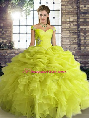 Yellow Green Sleeveless Floor Length Beading and Ruffles and Pick Ups Lace Up Vestidos de Quinceanera