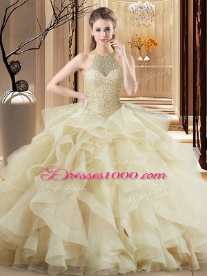 Champagne Organza Quince Ball Gowns Sleeveless Brush Train Beading and Ruffles