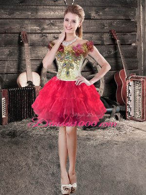 Red Off The Shoulder Neckline Hand Made Flower Prom Dresses Sleeveless Lace Up