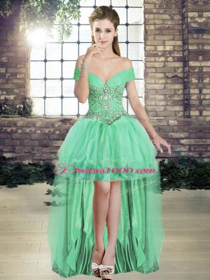 Amazing Apple Green Off The Shoulder Lace Up Beading and Ruffles Pageant Dress for Teens Sleeveless