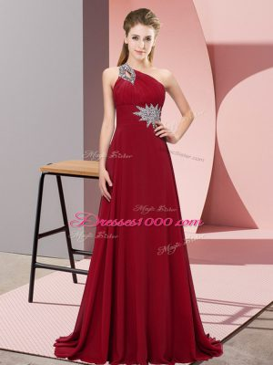 Popular Chiffon One Shoulder Sleeveless Brush Train Lace Up Beading Prom Evening Gown in Wine Red