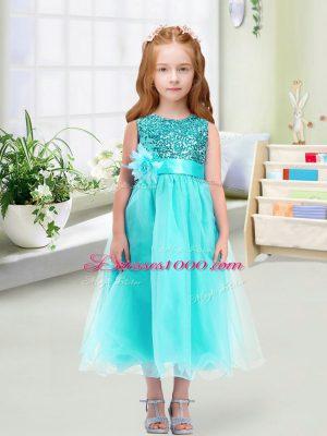 Popular Aqua Blue Zipper Scoop Sequins and Hand Made Flower Flower Girl Dresses for Less Organza Sleeveless