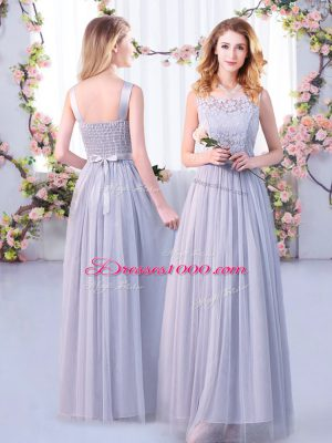 Modest Scoop Sleeveless Tulle Quinceanera Dama Dress Lace and Belt Side Zipper