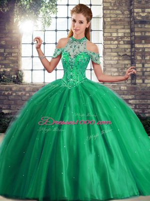 Eye-catching Brush Train Ball Gowns Ball Gown Prom Dress Green Halter Top Tulle Sleeveless Lace Up