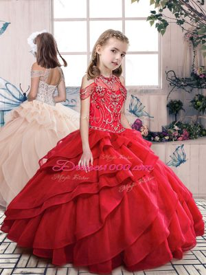 Stylish Red Ball Gowns Organza Halter Top Sleeveless Beading and Ruffled Layers Floor Length Lace Up Kids Formal Wear