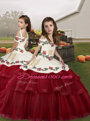 Wine Red Straps Lace Up Embroidery Little Girl Pageant Gowns Sleeveless