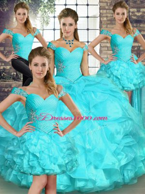 Aqua Blue Sleeveless Beading and Ruffles Floor Length Quinceanera Dress