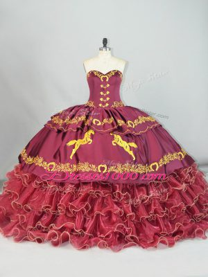 Dramatic Sweetheart Sleeveless Satin and Organza Little Girl Pageant Gowns Embroidery and Ruffled Layers Brush Train Lace Up