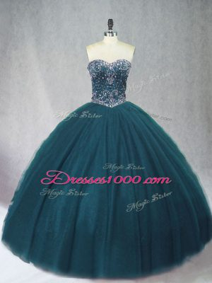 Peacock Green Tulle Lace Up Quinceanera Dress Sleeveless Floor Length Beading