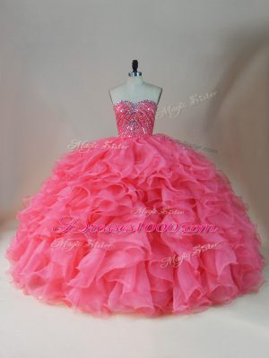 Sleeveless Floor Length Beading and Ruffles Zipper Ball Gown Prom Dress with Pink