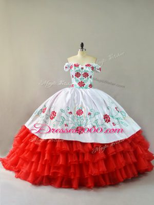 Fine White And Red Sweet 16 Dress Off The Shoulder Sleeveless Court Train Lace Up
