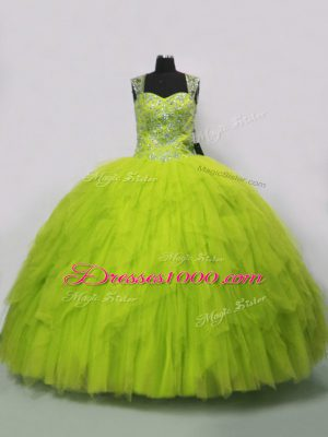 Yellow Green Tulle Lace Up Straps Sleeveless Floor Length 15 Quinceanera Dress Beading and Ruffles